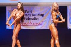 Het vrouwelijke cijfermodel buigt haar spieren en toont haar lichaamsbouw Royalty-vrije Stock Foto
