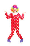 Het vrouwelijke clown gesturing met handen Stock Afbeeldingen