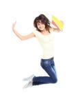 Het vrouwelijke student springen van succes stock fotografie