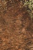 Het vrouwelijke gezicht Bas Relief Detail in Angkor Wat, Siem oogst, Kambodja, Indochina, Azië stock afbeeldingen