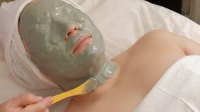 Het vrouwelijke gezicht is volledig behandeld met een kosmetisch masker De schoonheidsspecialist past een grijze massa op de huid royalty-vrije stock fotografie