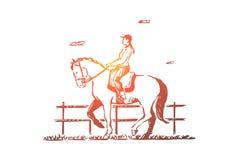 Het vrouwelijke jockeyhorseback berijden, jonge vrouw in zadel, plattelandsrecreatie, die voor de concurrentie opleiden royalty-vrije illustratie