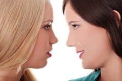 Het vrouwelijke minnaars kussen Stock Afbeelding