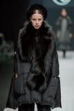 Het vrouwelijke model bij de modeshow Valentin Yudashkin in de Manierweek van Moskou, de daling-Winter 2016/2017 Stock Foto