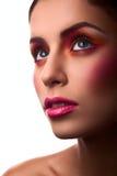 Het vrouwelijke model van de manierschoonheid met roze en oranje make-up Stock Foto