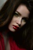 Het vrouwelijke model van de schoonheidsmanier met rode lippen en rode blouse royalty-vrije stock foto's