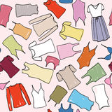 Het vrouwelijke naadloze patroon van de kledingsmanier. De achtergrond van de ondergoeddoek. vector illustratie