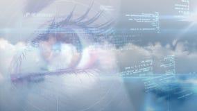 Het vrouwelijke oog concentreerde zich op gegevens stock video