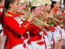 Het vrouwelijke Presteren van het Fanfarekorps Stock Foto