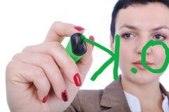 Het vrouwelijke schrijven o.k Royalty-vrije Stock Foto