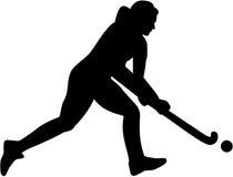 Het vrouwelijke silhouet van de hockeyspeler Stock Afbeeldingen