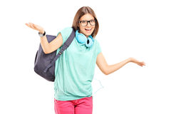 Het vrouwelijke student gesturing met haar handen Stock Fotografie