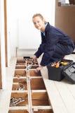 Het vrouwelijke Systeem van Loodgieterfitting central heating stock fotografie