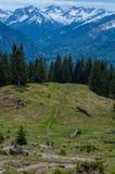 Het vrouwelijke trailrunning in de bergen van Allgau dichtbij Oberstdorf, Duitsland Royalty-vrije Stock Afbeelding