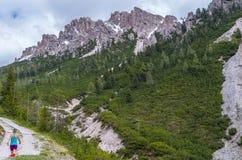 Het vrouwelijke trailrunning in de bergen van dolomiet Val Gardena, Italië Royalty-vrije Stock Fotografie