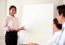 Het vrouwelijke uitvoerende werken aan haar presentatie stock afbeelding