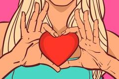Het vrouwelijke van de het Hartvorm van de Handenholding Rode van de de Vrouwenclose-up Mooie Concept van de de Valentijnskaarten vector illustratie