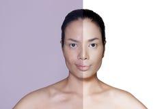 Het vrouwengezicht retoucheert vóór en na stock foto's