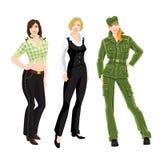 Het vrouwenkarakter in verschillende kleren en stelt Stock Afbeelding
