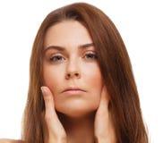 Het vrouwenmeisje behandelde haar gezichts halve hand stock afbeeldingen