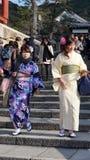 Het vrouwentoerisme draagt een traditionele kleding genoemd Kimono Royalty-vrije Stock Fotografie