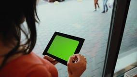 Het vrouwenwerk aangaande tablet die zich door de vensterkoffie bevinden Het groene scherm stock videobeelden