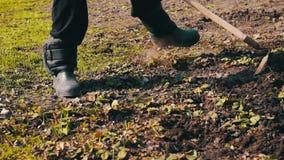 Het vrouwenwerk in de tuin maakt gras van de grond met een zwabber van schoffel schoon stock video