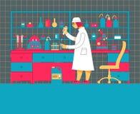 Het vrouwenwerk in een laboratorium Wetenschappelijk experiment Het wetenschappelijke werk royalty-vrije illustratie