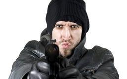 Het vurenkanon van de geheim agent in de camera stock foto