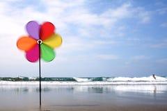 Het Vuurrad van het strand Royalty-vrije Stock Foto's