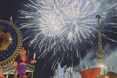Het vuurwerk bij het openen van het mensenfestival in st poelten 2018 Stock Foto