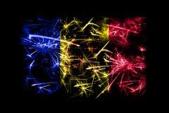 Het vuurwerk fonkelende vlag van Andorra Nieuwjaar 2019 en het concept van de Kerstmispartij vector illustratie