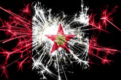 Het vuurwerk fonkelende vlag van Birmingham, Alabama Nieuwjaar 2019 en het concept van de Kerstmispartij stock afbeelding