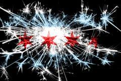 Het vuurwerk fonkelende vlag van Chicago, Illinois Nieuwjaar 2019 en het concept van de Kerstmispartij stock afbeeldingen