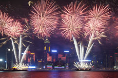 Het vuurwerk toont in Hongkong 2012 Stock Afbeelding