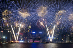 Het vuurwerk toont in Hongkong 2012 Stock Foto