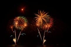 Het vuurwerk, toont, viert, de koning van verjaardag Royalty-vrije Stock Foto