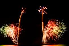 Het vuurwerk, toont, viert, de koning van verjaardag Stock Afbeelding
