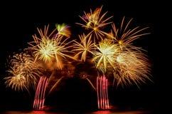 Het vuurwerk, toont, viert, de koning van verjaardag Stock Fotografie