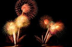 Het vuurwerk, toont, viert, de koning van verjaardag Royalty-vrije Stock Afbeeldingen
