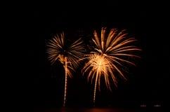 Het vuurwerk, toont, viert, de koning van verjaardag Stock Foto's