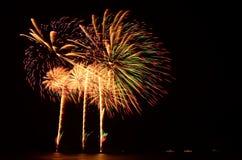 Het vuurwerk, toont, viert, de koning van verjaardag Stock Afbeeldingen