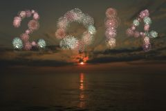 het vuurwerk van 2014 Stock Foto's