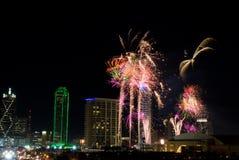 Het Vuurwerk van Dallas Texas Royalty-vrije Stock Afbeeldingen