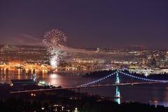 Het vuurwerk van de Dag van Canada in Vancouver Van de binnenstad Stock Foto