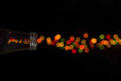 Het vuurwerk van de glasfles bokeh Stock Afbeelding