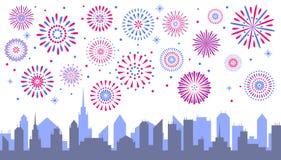 Het vuurwerk van de nachtstad Gevierde feestelijke voetzoeker over stad s royalty-vrije illustratie