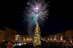 Het vuurwerk van de nieuwjaar` s Vooravond Stock Fotografie