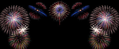 Het vuurwerk van de nieuwjaarviering, exemplaarruimte met kleurrijk vuurwerk Stock Afbeelding