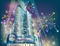 Het vuurwerk van de vakantie in de stad Stock Afbeelding